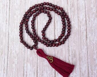 108 Mala Bead, Mala Necklace, Mala Bead, Wood Mala, Tassel Necklace Mala, Yoga Beads,Meditation Buddhist Prayer Beads, Handmade Jewelry