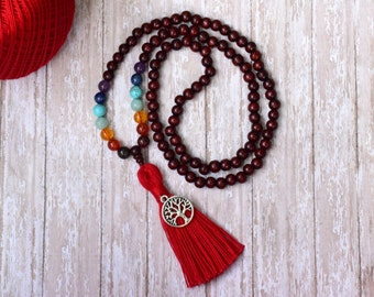 7 Chakra Bead Necklace, Red Tassel Necklace, Reiki Bead, Mala Necklace, Mala Bead, Bohemian Necklace, Yoga Meditation Prayer Beads, Buddhist