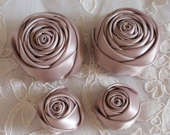 4 Handmade Ribbon Rolled Roses (2 inches,1-1/4 inch) in Taupe MY-432-196 Ready To Ship