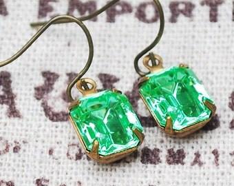 Peridot swarovski earrings Green earrings Swarovski earrings By Blond Venus
