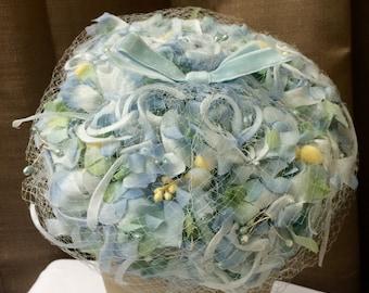 Vintage Blue Flower Hat