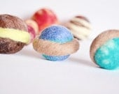 Small, set of 12, Solar System. The Sun & 11 planets. Outer Space, learning toy, wool ball toys, storage bag included, wooly topic