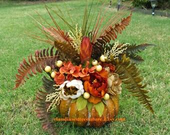 Table Centerpiece,Table Decoration,Pumpkin,Autumn Table Centerpiece,Fall Table Centerpiece,Rustic Table Centerpiece,Thanksgiving Centerpiece