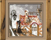 """Cross Stitch KIT 610 """"City and Cats Winter"""" - by RIOLIS (Counted cross stitching, Sewing & Needlecraft, Embroidery pattern)"""