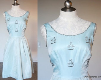 50s Mint Blue Green Satin Party Dress XS Small