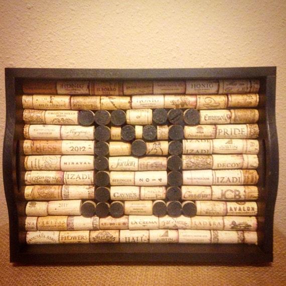 Fun Ways To Display Wine Corks: Items Similar To Decorative Tray-Wine Cork Tray-Home Decor