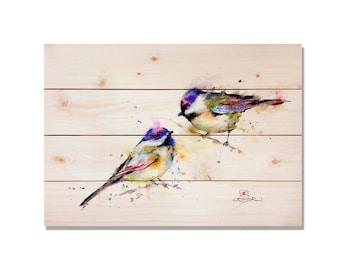 Bird Art, Two Colorful Birds Watercolor Print on Cedar, Art Print. Indoor and Outdoor Safe 20x14. (DCPP1420)