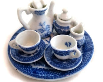 Children's Damask Porcelain Tea Set for Two Gift for Your Daughter