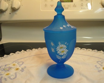Vintage Blue Two Piece Candy Dish with  Painted Daisies