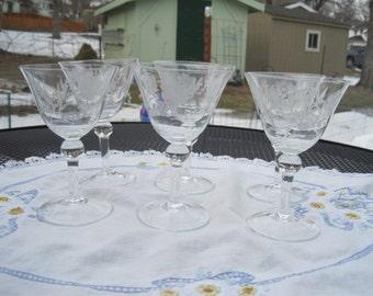 Set Of Six Vintage Crystal Wine Glasses 1940-50