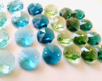 24 Assorted Greens and Blues 14mm Octagon Chandelier Crystal Beads