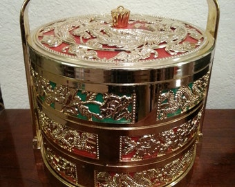 Plastic Chinese Basket with Pretty Gold Design and Carrying Handle