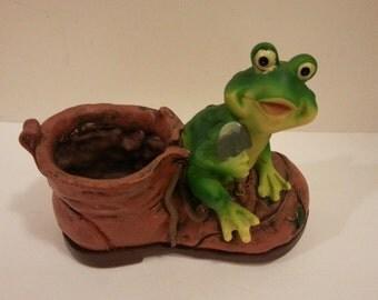 Plastic Frog on Boot planter