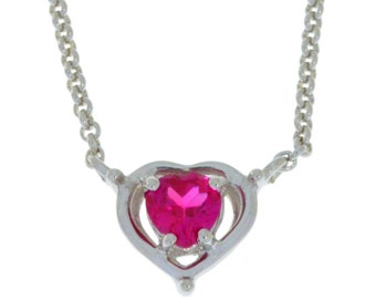 Valentine's Day Ruby Heart Pendant .925 Sterling Silver