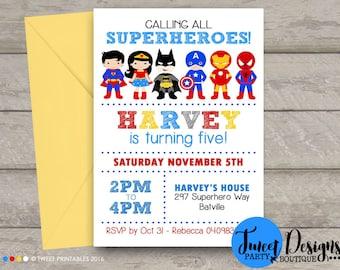 SUPERHERO BOY Invitation, Printable Birthday Invitation, Superhero Invitation, Superhero Party Invitation, Superhero Typography White Invite