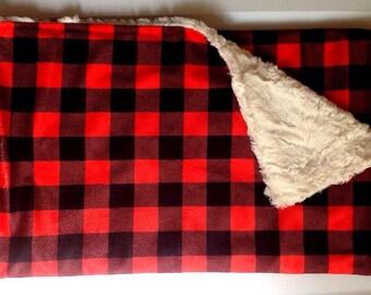Buffalo Check Plaid-Lumberjack-Red Minky Blanket-Cabin Outdoors Woodland Adventure Nursery-Baby Shower Gift-Crib Bedding-Modern Nursery