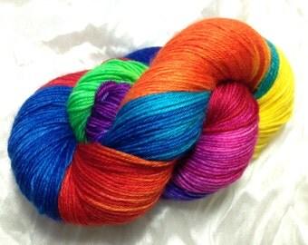 "Rainbow ""Roy G. Biv"" MCN SW Merino/Cashmere/Nylon 80/10/10 Sock Yarn"