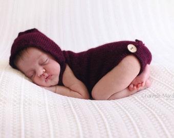 Newborn hooded romper knit alpaca romper newborn photo prop