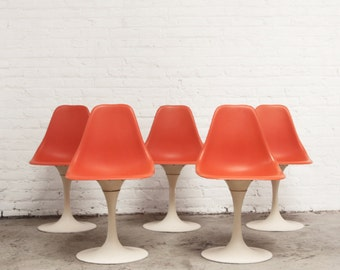 5 Burke Dining Chairs - Swivel Tulip Chairs Mid Century