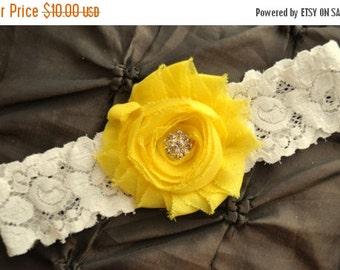 SALE Garter Wedding, Garter Bridal - Ivory Lace Garter, Toss Garter, Shabby Chiffon Bright Yellow, Yellow Wedding Garter Belt, Yellow Garter