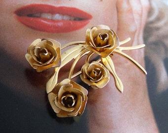 Vintage Gold Flower Brooch Pin, Rose Flower Pin, Flower Spray, Lapel Flower Pin, Rose Bouquet Pin, Gold Flower Brooch, 1970s 70s Brooch Pin