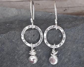 Earrings, silver hoop earrings, pebble earrings, argentium silver pebble drop and hammered hoop earrings, handmade by arcjewellery UK