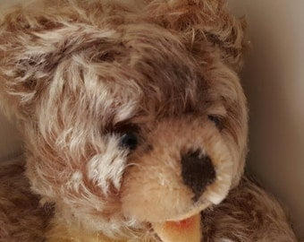 Steiff Zotty Teddy Bear Fluffy Mohair Plush 35cm Glass Eyes 1960s Zotty Original Label ID Attached