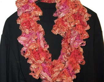 Sashay Scarf, Crocheted Scarf, Ruffled Scarf, Infinity Scarf, Knitted Scarf, Lace Scarf, Scarves, Coral, Pink