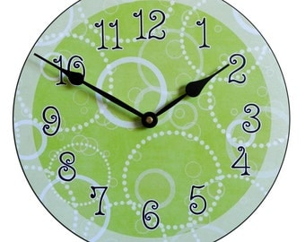Lime Green Circles Wall Clock
