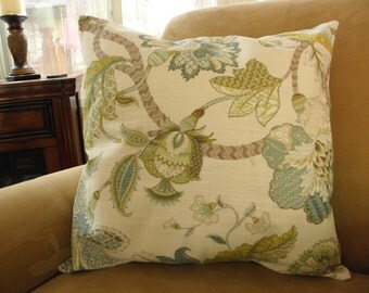 Big Sale !!! Large Scale Floral and Leaf Design Linen Pillow Cover 20x20