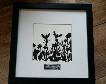 Fairies in the meadow handcut paper cut framed