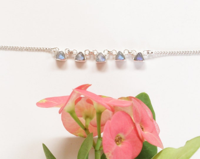Moonstone Choker, 925 Sterling Silver Choker, Rainbow Moonstone Necklace, Choker Necklace, Delicate Moonstone Necklace, Moonstone Jewelry
