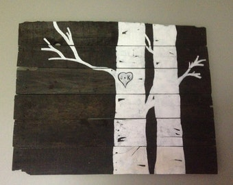 Reclaimed wood wall decor with initials