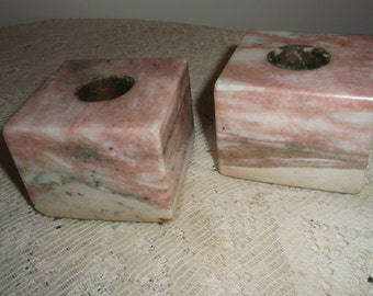 Marble Candle holders, Square marble candle holders in Beige ,cream,with flecks of gray and black,  Solid ,heavy candle holders,modern style