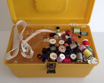 Large Vintage Yellow Sewing Storage Box with Handle / Includes Threads and Notions