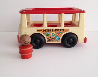 Vintage 1969 Fisher Price Mini Bus with Wooden Little People Toy