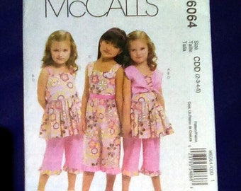 Uncut Pattern - McCall's 6064 - Children/Girls bolero, dress, jumpsuit and pants = size 2,3,4,5