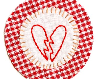 Broken Hearted Hand Embroidered Sew-On Patch