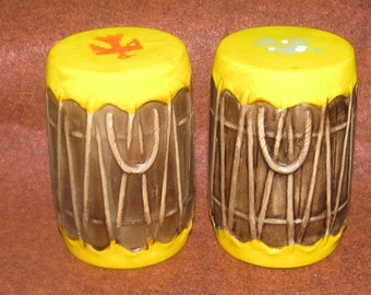 1968 Salt & Pepper Shakers ~ Ceramic Hand Painted Indian Drums