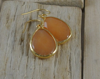 Large Citrine Agate Tear Drop Dangle Earrings. This would be great for a Bridesmaid.