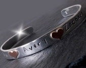 Rose Gold and Silver Bangle with Childrens Names, Personalised Bangle with Names, Childrens Names Bangle,Valentines Gift
