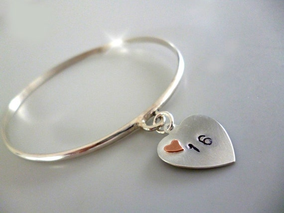Sweet Sixteen Bangle, Silver Bracelet with Age, Silver Bangle with Silver and Copper Heart, Coming of Age Gift, 16th Birthday Gift