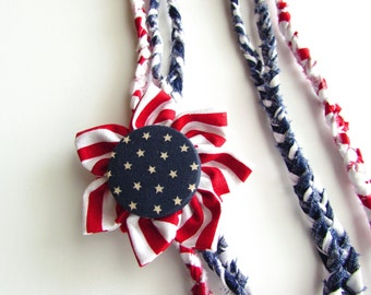 Patriotic Jewelry, July 4th Accessories Red White and Blue Necklace USA button Pin Stars &Stripes American Flag Bracelets Boho Jewelry