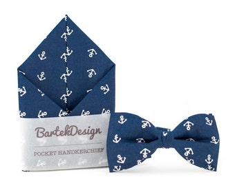 Anchor Blue Set  Bow Tie & Pocket Handkerchief set anchor wedding grooms gift proms