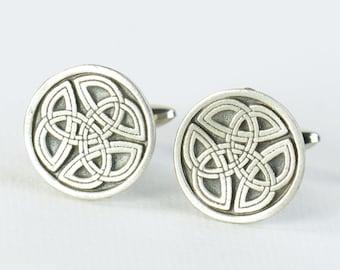 Celtic Knot Cufflinks.Stainless steel leg.Mens Gift