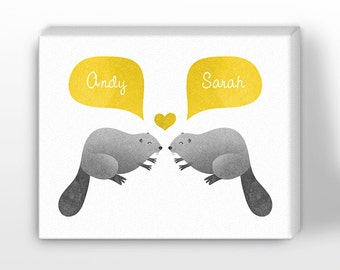 CANVAS Print, Beaver Couple Wall Art, Personalized Valentines Gift for Him, Gift for Her, Wedding Gift, Engagement Gift, Anniversary Gift