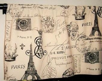 Eiffel Tower Window Valance, Kitchen Valance, Shabby Chic, Window Curtain Valance, Custom Bedroom Valance, French Decor, French Stamps