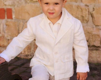Boys White Jacket And Pants Suit Man Linen Beach Summer Wedding Party Special Occasion Birthday