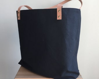 Waxed Canvas Tote with Tan Leather Handles - Black