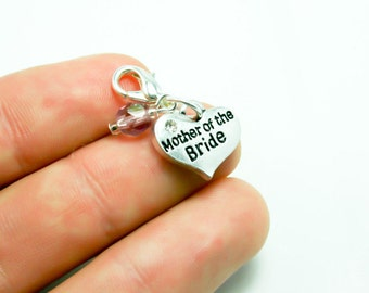 Mother of the Bride Charm. Custom Wedding Charm for Mom. Wedding Gift. SCC408